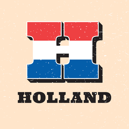 Vector letter H logo design for dutch flag. Holland and Netherlands national icon template. Worldwide country symbol alphabet isolated on color background