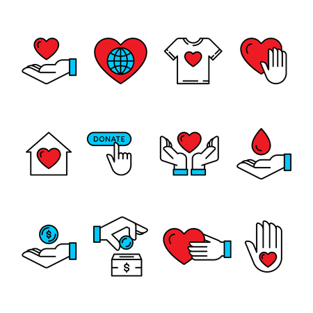 Vector graphic flat icon set for charity donation organization, volunteer center and fundraising event. Clean and simple color outline design elements, symbols and pictograms
