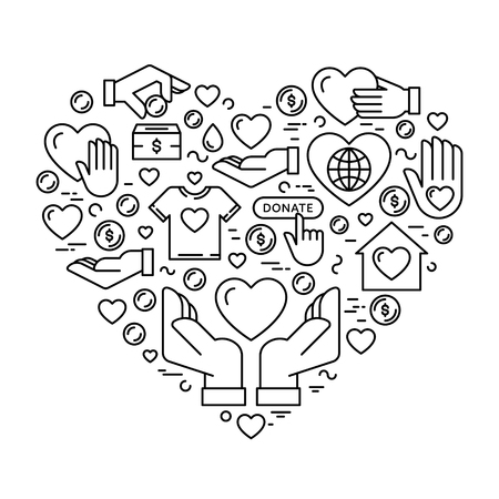 Vector graphic flat icon set for charity donation organization, volunteer center and fundraising event. Clean and simple outline design elements, symbols and pictograms in heart form