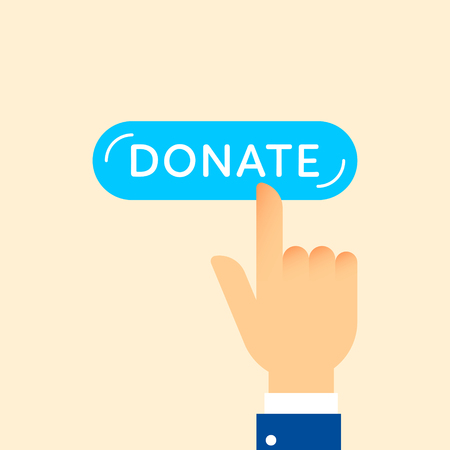 Charity hand on donate button design illustration. Clean and simple graphic flat vector concept. Color symbol icon template for donation organization, volunteer center and fundraising event
