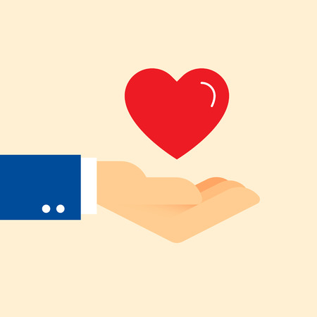 Charity helping hand with red heart. Share love illustration. Clean and simple graphic flat vector concept. Color symbol icon template for donation organization, volunteer center and fundraising event