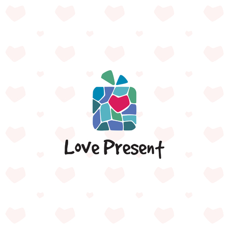 Love Present Logo design template. Vector heart mosaic gift logotype