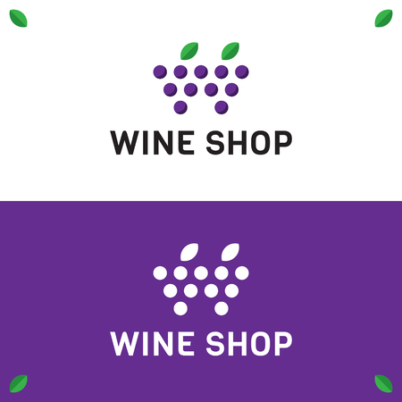 Wine Shop Logo design template. Vector minimal vine grapes and leaves logotype icon