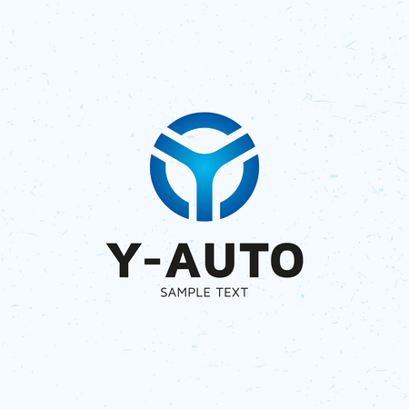 Y Auto car wheel logo design template. Vector letter Y blue circle logotype icon