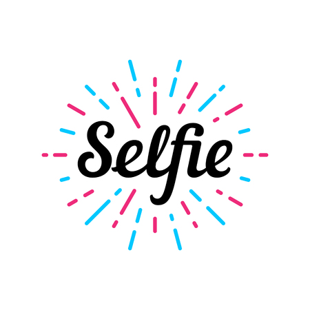 Selfie logo design template. Vector color illustration. Selfie label print text isolated on white background