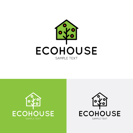 Eco House logo design template. Vector real estate bio village sign logotype icon. Bright flat ecologic home symbol with green tree and red fruit. Organic housing label for health life