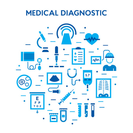 Medical diagnostic vector icon set. Medicine flat signs. Clinical laboratory research pictogram symbols: microbiology, medicine science, immune system analysis, xray, MRI, scan, blood glucose testing Ilustracja