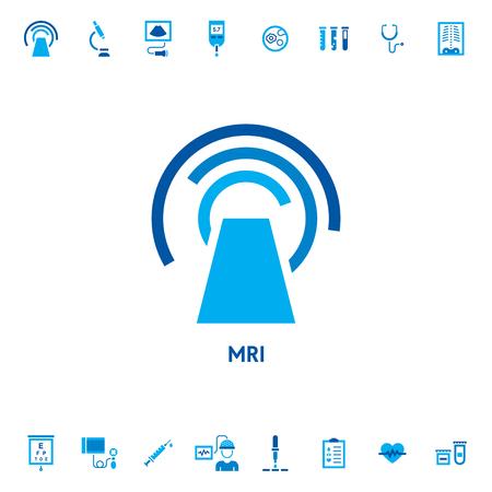 Logotipo de icono de vector de diagnóstico de resonancia magnética. Ilustración de símbolo de tomografía computarizada de procedimiento médico. Escáner de tomografía computarizada de estilo plano. Logotipo de la máquina de imágenes por resonancia magnética sobre fondo blanco.