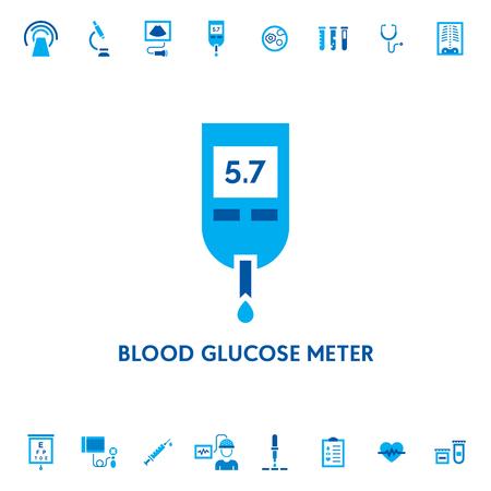 Miernik stężenia glukozy we krwi diagnostyczne wektor ikona logo. Symbol badań medycznych glukometru. Logotyp projektu testu poziomu cukru dla laboratorium, szpitala. Ilustracja opieki zdrowotnej w cukrzycy