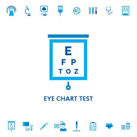 Eye chart test diagnostic vector icon logo. Measuring visual acuity sign illustration. Ophthalmologist exam table for patient isolated on white background. Optical analysis symbol concept