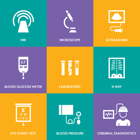 Medical diagnostic vector icon set. Medicine test signs in flat style. Clinical health care research and check-up. Hospital pictogram symbols of xray, MRI, scan, blood glucose testing, vaccination