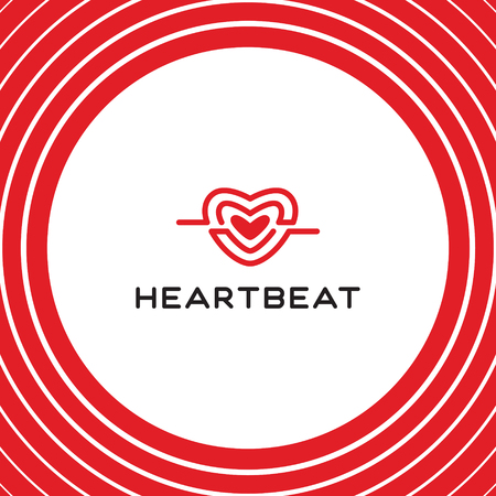 Heartbeat logo vector template. Graphic amour symbol in flat style. Medical cardiogram symbol design. Red shape cardio heart logotype label illustration. Colorful love badge on white background