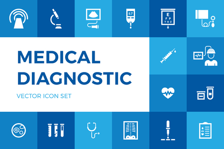 Medical diagnostic vector icon set. Medicine test signs in flat style. Hospital pictogram symbols of scan, blood and glucose testing, vaccination. Clinical health care research Vettoriali