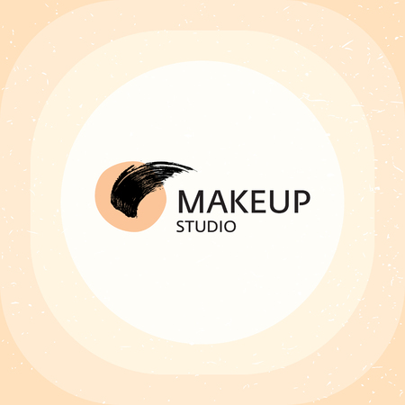 Makeup Studio vector logo template. Beautiful logotype badge isolated on white background. Color illustration for professional beauty industry, salon, shop, parlor, visagist