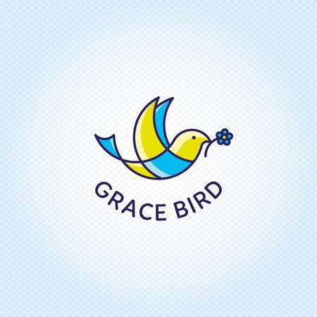 Modello di vettore del logo Grace Bird. Simbolo di uccello grafico colorato con fiore. Volare logotipo illustrazione isolato su sfondo.Disegno di etichetta animale buono per organizzazione di donazione di beneficenza, centro di volontariato
