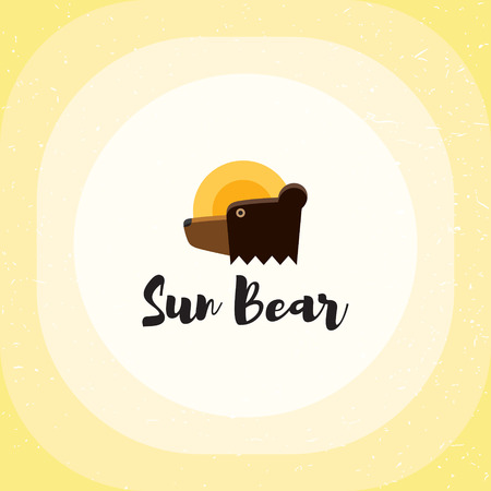 Sun Bear logo vector template. Bright wild animal icon illustration isolated on background. Colorful cute cartoon emblem. Brown and yellow teddy label with sun in round shape
