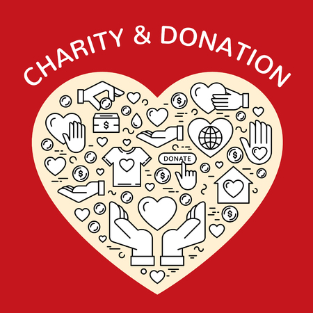 Vector flat icon set for charity organization, fundraising event and volunteer center. Clean and simple outline concept elements, symbols, pictograms. Graphic donation design background in heart form