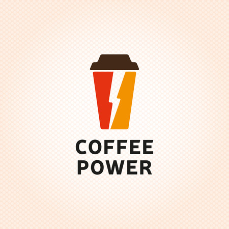 Coffee Power mug logo design template. Vector espresso cup logotype illustration with flash element. Flat graphic label symbol for java shop, house. Cappuccino energy icon isolated on background