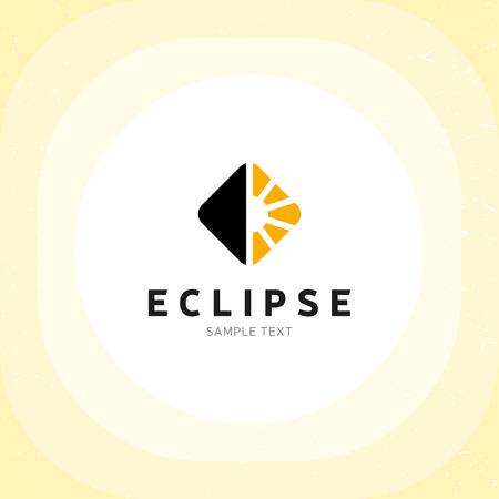 Eclipse logo design template. Vector electric light logotype illustration. Flat lamp symbol label isolated on background. Graphic sunshine icon for energy company. Day and night emblem concept