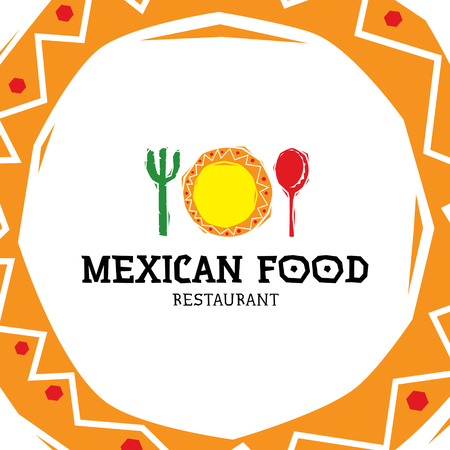 Mexican Food logo design template. Vector traditional meal logotype illustration background. Colorful sign, symbol for cafe, restaurant, fast-food, snack bar. Ethnic cuisine label with cactus, maracas