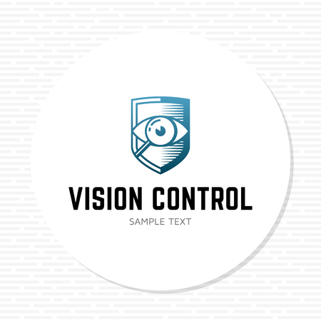 Vision Control logo design template. Vector eye expert logotype illustration isolated on background. Graphic security lens icon label with protection shield sign. Examination company emblem concept Illustration