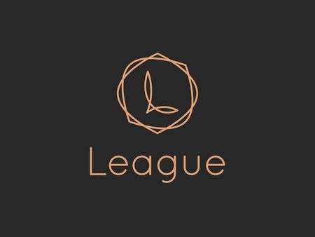 Szablon projektu logo litery L wektor. Znak etykiety alfabetu dla marki i tożsamości. Godło kaligrafii liniowy napis z ozdobną ramą. Wpisz ilustrację symbolu postaci z elegancką grafiką liniową