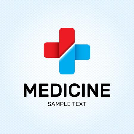 Medicine Cross logo design template. Vector medical logotype illustration background. Graphic plus label symbol for hospital, pharmacy. Red and blue health care doctor icon emblem, sign, badge Illustration