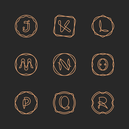 Vector letters J, K, L, M, N, O, P, Q, R logo design template set. Alphabet label sign for branding and identity. Linear lettering emblem in ornamental frame. Type character illustration with line art