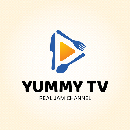 Yummy TV logo design template. Vector cooking symbol illustration background. Color label for cook show, recipe channel, food blog. Graphic broadcast icon emblem with fork, spoon, knife Banque d'images - 104616440