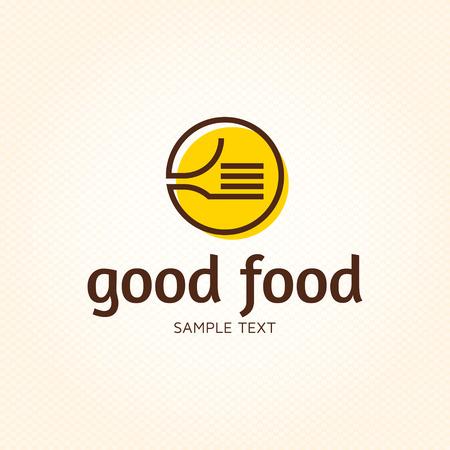 good food logo design template vector color hand like illustration