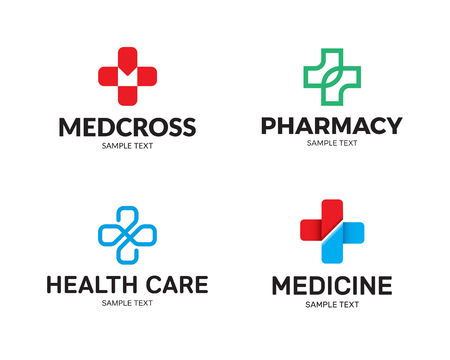 Medical Cross logo design template set. Graphic plus icon symbols for hospital, ambulance. Vector collection of health care doctor emblems, signs, badges. Pharmacy label illustration background