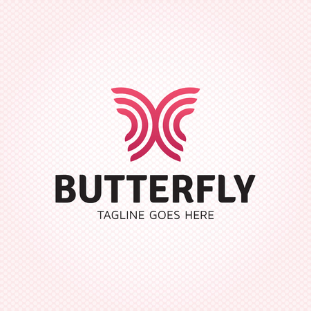 Vector butterfly logo design template. Graphic insect logotype, sign and symbol. Colorful fly label illustration isolated on background. Modern circle shape badge for beauty salon, spa Illustration