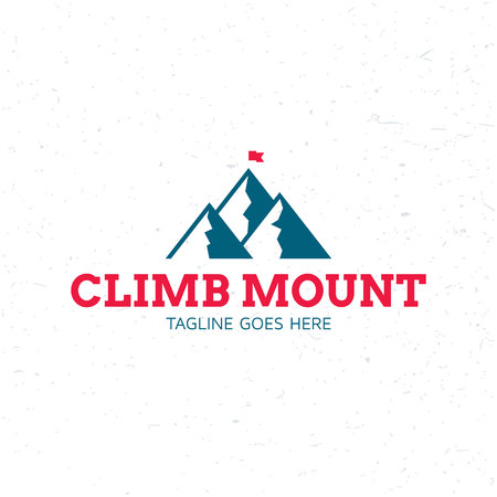 Climb Mount flag logo design template. Vector rocks logotype illustration. Graphic mountain climbing icon for travel company, extreme sports, expedition. Alpine isolated tourism sign with snow peaks