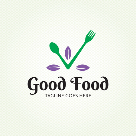 Good Food healthy logo design template. Vector spoon and fork logotype illustration. Graphic eco check icon for catering. Cooking organic leaf label sign isolated on background