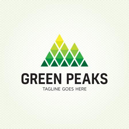 Plantilla de diseño de logo de Green Peaks. Ilustración de logotipo de alta montaña de vector. Signo gráfico de icono de roca geométrica alpina para empresa de viajes, deportes extremos, expedición. Etiqueta de escalada con picos nevados