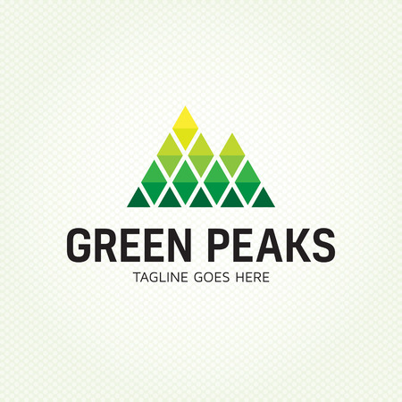 Green Peaks logo design template. Vector high mountain logotype illustration. Graphic alpine geometric rock icon sign for travel company, extreme sports, expedition. Climbing label with snow peaks