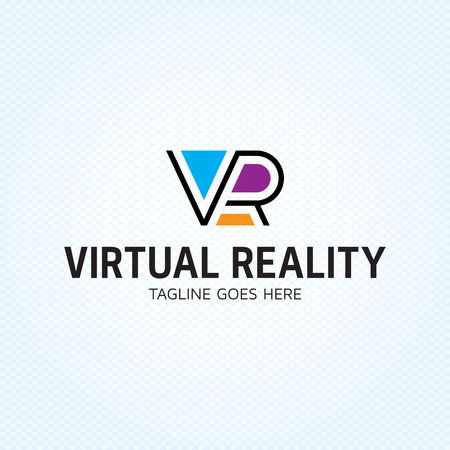 VR letter logo design template. Vector virtual reality logotype illustration. Graphic cyberspace lettering icon symbol for cyber sport company. Colorful line typography label isolated on background