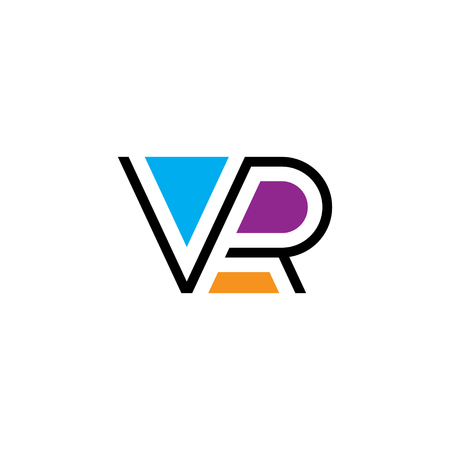 VR letter logo design template. Vector virtual reality logotype illustration. Colorful line typography label isolated on background. Graphic cyberspace lettering icon symbol for cyber sport company
