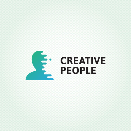 Creative People logo design template. Vector human silhouette logotype illustration with digital lines. Graphic user icon for web company, HR agency, media brand. Man head brain symbol, label, sign