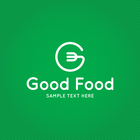 Good Food logo design template. Vector letter G logotype illustration background. Graphic fork icon for cafe, restaurant, cooking business. Modern linear catering label, emblem, badge in circle Vettoriali