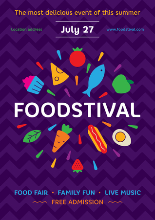 Food Festival poster design template. Vector street fair logotype illustration with fresh fruits, vegetables icons. Graphic firework symbol with cake, hotdog for banner, card, flyer