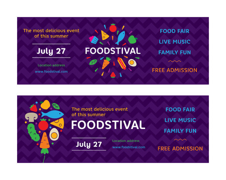 Food Festival flyers design template. Street fair logotype illustration with fresh fruits and vegetables icons. Vector graphic firework and balloon symbol with cake, hotdog