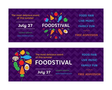 Modèle de conception de flyers Food Festival. Illustration de logotype juste de rue avec des icônes de fruits et légumes frais. Feu d'artifice graphique vectoriel et symbole de ballon avec gâteau, hot-dog
