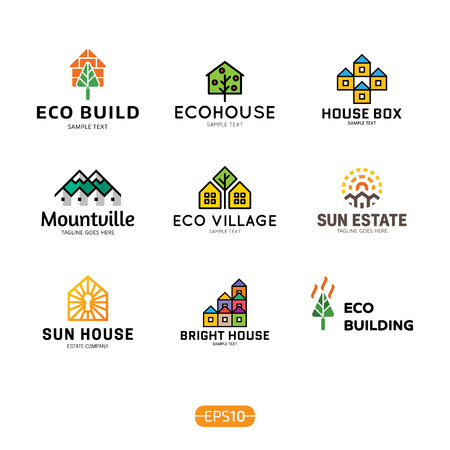 House logo design template set. Real estate badge concept isolated on background. Vector colorful eco home logotype, sign, symbol collection. Modern graphic building and sun housing label icon Ilustração