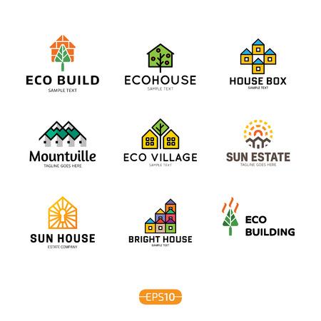 Insieme del modello di progettazione di logo di casa. Concetto di badge immobiliare isolato su priorità bassa. Logotipo di casa eco colorato vettoriale, segno, raccolta di simboli. Edificio grafico moderno e icona dell'etichetta dell'alloggiamento del sole