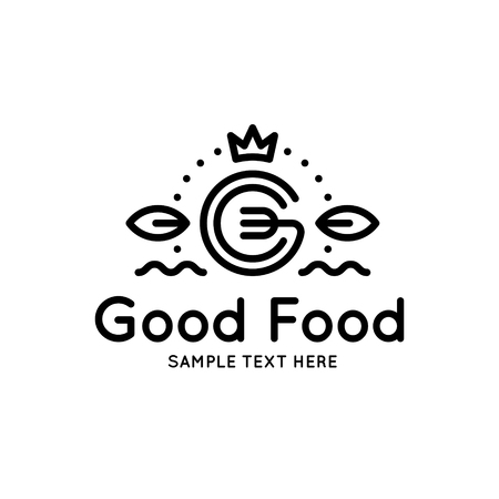 Good Food logo design template. Vector letter G logotype illustration with crown and leafs. Isolated graphic fork icon for catering, cafe, restaurant. Modern linear label, emblem, badge in circle