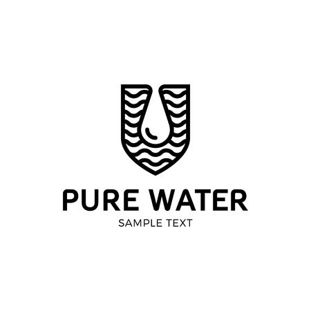 Pure water logo vector template eco drop logotype icon in shield pure water logo vector template eco drop logotype icon in shield form aqua abstract maxwellsz
