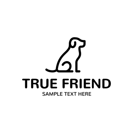True Dog Friend logo design template. Graphic sitting puppy logotype, sign and symbol. Pet silhouette label illustration isolated on background. Modern animal badge for veterinary clinic, pet food