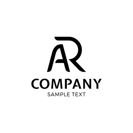 AR vector letter logo template. Augmented reality logotype  symbol illustration. Technology company label sign isolated on background. Creative modern typography monogram icon