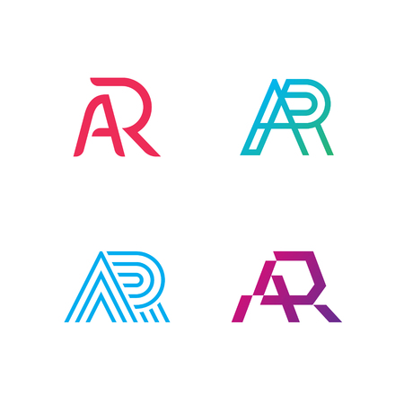 AR vector letter logo template set. Augmented reality logotype illustration collection. Technology company label sign isolated on background. Creative modern typography monogram icon